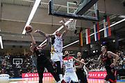 Basketball: Supercup, Deutschland - Russland, Hamburg, 18.08.2017<br /> Mikhail Kulagin (RUS, l.) - Daniel Theis (GER)<br /> © Torsten Helmke