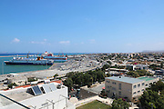 elevated view of Heraklion, Crete Island, Greece the new harbour in the background