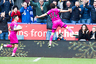 Rochdale midfielder Ollie Rathbone celebrates his goal during the EFL Sky Bet League 1 match between Bolton Wanderers and Rochdale at the University of  Bolton Stadium, Bolton, England on 19 October 2019.