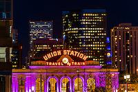Denver Union Station and buildings in Downtown Denver, Colorado USA.