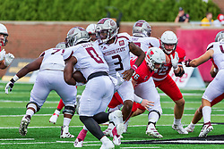 NORMAL, IL - October 02: Jason Shelley hands off to Tobias Little during a college football game between the Bears of Missouri State and the ISU (Illinois State University) Redbirds on October 02 2021 at Hancock Stadium in Normal, IL. (Photo by Alan Look)