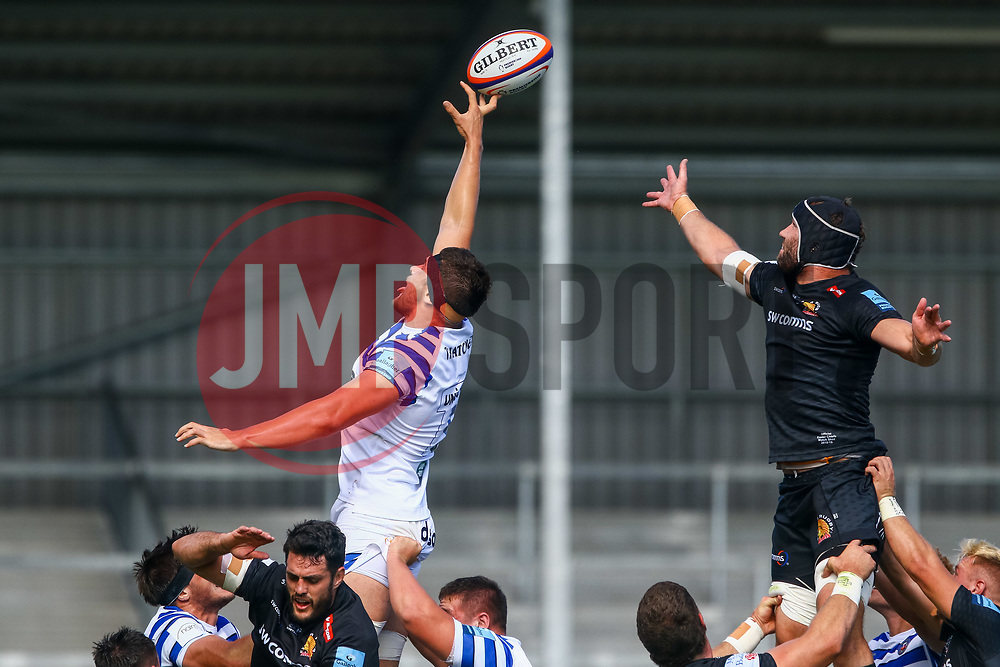 Rhys Davies and  Wilhelm Van Der Sluys contend for the ball at the lineout - Ryan Hiscott/JMP - 09/09/2018 - RUGBY - Sandy Park - Exeter, England - Exeter Braves v Bath United, Premiership Rugby Shield