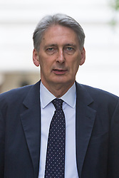 Downing Street, London, August 2nd 2016. Chancellor of the Exchequer Philip Hammond arrives at Downing Street for the Economic and Industrial Strategy Committee meeting. The committee is comprised of eleven cabinet ministers and has been set up by Prime Minister Theresa May to ensure that Britain is in the best position to successfully leave the European Union.