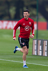 CARDIFF, WALES - Monday, October 5, 2020: Wales' Kieffer Moore during a training session at the Vale Resort ahead of the International Friendly match against England. (Pic by David Rawcliffe/Propaganda)