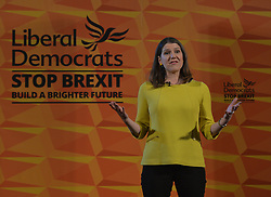 Liberal Democrat leader Jo Swinson held a campaign rally in central Edinburgh, where she talked about the party's opposition to independence.<br /> <br /> © Dave Johnston / EEm