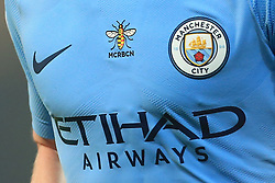 21st August 2017 - Premier League - Manchester City v Everton - A worker bee logo appears on the Man City home shirt as a tribute to the victims of the recent terror attacks in Manchester and Barcelona - Photo: Simon Stacpoole / Offside.