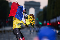 UAE Emirates's rider Tadej Pogacar winner of the yellow jersey of overall winner on the podium of the Tour de France 2020, on Champs Elysees Avenue in Paris, on September 20, 2020. / Sportida