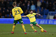 Wes Hoolahan of Norwich city (r)  in action.EFL Skybet championship match, Cardiff city v Norwich city at the Cardiff city stadium in Cardiff, South Wales on Friday 1st December 2017.<br /> pic by Andrew Orchard, Andrew Orchard sports photography.