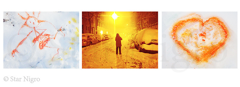 NYC Winter Wonderland Compilation by Star Nigro<br /> <br /> Manhattan, NY winter in the middle<br /> of a snow storm, other images are childrens art in the snow.<br /> <br /> <br /> © 2021 All artwork is te property of STAR NIGRO.  Reproduction is strictly prohibited.