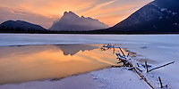 The iconic image from Banff is Mount Rundle reflected in an icy pool in one of the Vermillion Lakes, at sunrise.  I had never managed to be there at the right time to make an attempt at this image before, but I finally had a chance to do so this weekend.  Here is one of my favorites!..©2009, Sean Phillips.http://www.Sean-Phillips.com