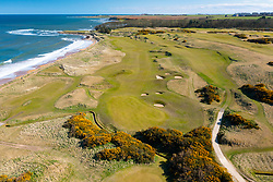 Aerial view from drone of Kingsbarns Golf Links, Fife, Scotland, UK
