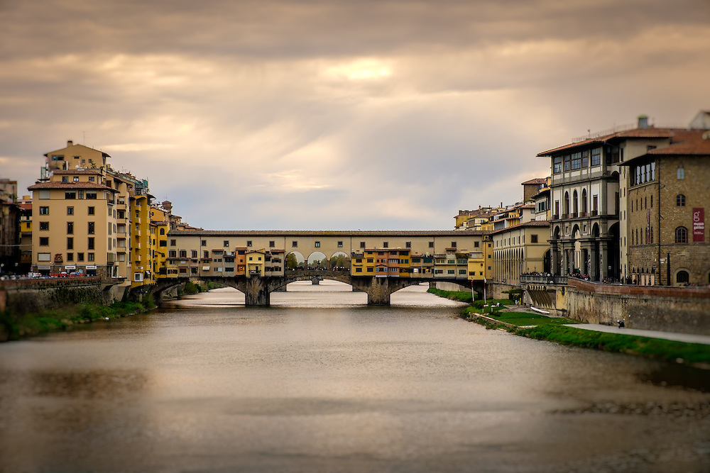 FLORENCE, ITALY - CIRCA MAY 2015:  Ponte Vecchio and Arno river in Florence, Italy.