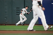 San Francisco Giants center fielder Drew Stubbs (46) makes a catch against the Los Angeles Dodgers at AT&T Park in San Francisco, California, on April 24, 2017. (Stan Olszewski/Special to S.F. Examiner)