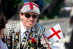 © Licensed to London News Pictures. 21/04/2018. London, UK. A 'Pearly King' attends the 'Feast of St George' event in Trafalgar Square, to celebrate the Patron Saint of England. St George's Day is on 23 April. Photo credit : Tom Nicholson/LNP