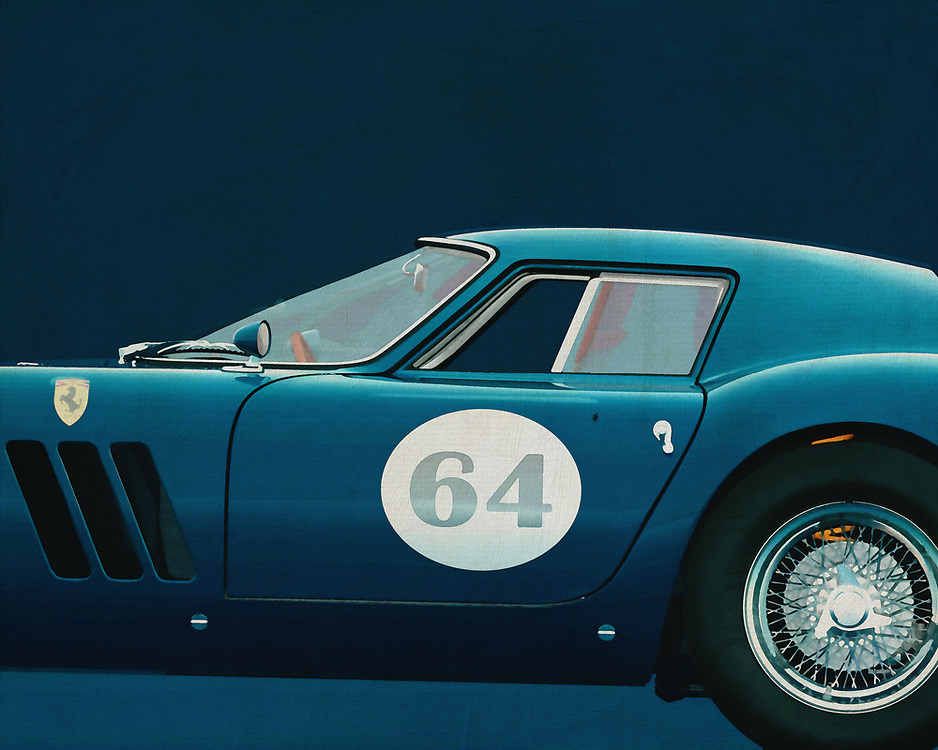 """The Ferrari 250 GTO is a GT car produced by Ferrari from 1962 to 1964 for homologation into the FIA's Group 3 Grand Touring Car category. It was powered by Ferrari's Tipo 168/62 Colombo V12 engine.<br /> <br /> The """"250"""" in its name denotes the displacement in cubic centimeters of each of its cylinders; """"GTO"""" stands for Gran Turismo Omologata,[4][5] Italian for """"Grand Touring Homologated.""""<br /> <br /> Just 36 of the 250 GTOs were manufactured between 1962 and 1964. This includes 33 cars with 1962-63 bodywork (Series I) and three with 1964 (Series II) bodywork similar to the Ferrari 250 LM. Four of the older 1962-1963 (Series I) cars were updated in 1964 with Series II bodies. –<br /> <br /> <br /> BUY THIS PRINT AT<br /> <br /> FINE ART AMERICA<br /> ENGLISH<br /> https://janke.pixels.com/featured/2-ferrari-250go-1964-jan-keteleer.html<br /> <br /> WADM / OH MY PRINTS<br /> DUTCH / FRENCH / GERMAN<br /> https://www.werkaandemuur.nl/nl/shopwerk/Ferrari-250GTO-1964/544637/134"""