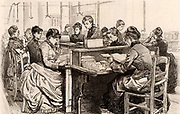 French postal service. Women in the Returned Letter Office trying to find the correct addresses to which returned letters should be sent.  Engraving from 'Le Journal de la Jeunesse' (Paris, 1886).