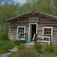 An old log building has been renovated into a gift store in Virginia City, a ghost town that was once the capital of Montana Territory.