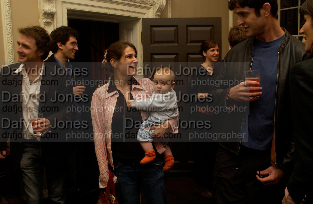 Esther Freud with her baby Gene and Rupert Everett, Book launch of Truth or Dare,  edited by Justine Picardie. House of St. Barnabus. Sales of the book at the launch went towards Breast  Cancer  Care. Greek St. London. 30 September 2004. SUPPLIED FOR ONE-TIME USE ONLY-DO NOT ARCHIVE. © Copyright Photograph by Dafydd Jones 66 Stockwell Park Rd. London SW9 0DA Tel 020 7733 0108 www.dafjones.com