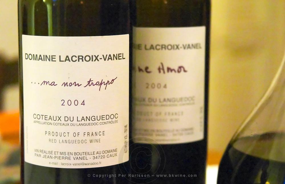 Cuvee Ma Non Troppo and Fine Amor. Domaine Lacroix-Vanel. Caux. Pezenas region. Languedoc. France. Europe. Bottle.