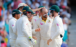 Australia's Nathan Lyon celebrates the wicket of England's Dawid Malan during day four of the Ashes Test match at Sydney Cricket Ground.