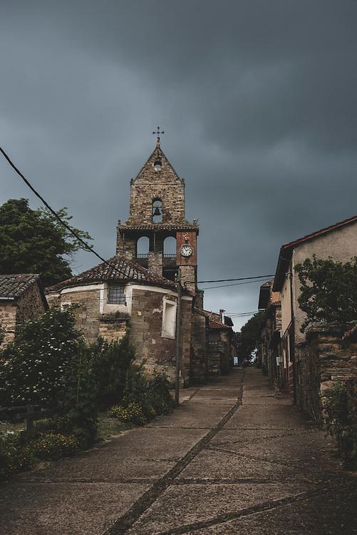 Rabanal del Camino, Spain - June 30, 1918: The Iglesia de la Asunción de Rabanal del Camino, seen on a stormy afternnon.