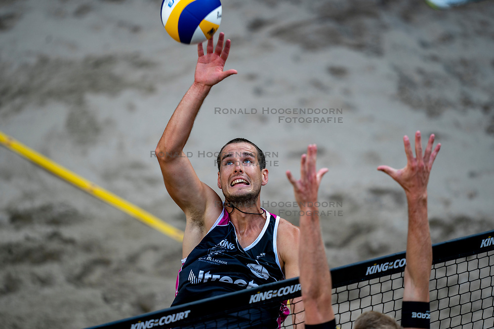 Piotr Kantor POL in action during the second day of the beach volleyball event King of the Court at Jaarbeursplein on September 10, 2020 in Utrecht.