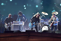 EDITORIAL USE ONLY.<br /><br />Foo Fighters perform on stage at the Brit Awards at the O2 Arena, London.