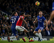 Gary Cahill of Chelsea ® looks on as Andreas Christensen of Chelsea and Marcus Rashford of Manchester Utd © battle for the ball.  Premier league match, Chelsea v Manchester United at Stamford Bridge in London on Sunday 5th November 2017.<br /> pic by Kieran Clarke, Andrew Orchard sports photography.