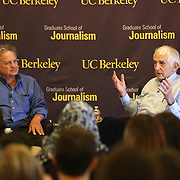 Government whistleblower Daniel Ellsberg (right) speaks with Lowell Bergman, Director of the Investigative Reporting Program at the UC Berkeley Graduate School of Journalism during the first week orientation for incoming students at North Gate Hall in Berkeley, California, on Wednesday, August 27, 2014. Ellsberg, who is most famous for his role in the Pentagon Papers ordeal, interacted with students about such topics as freedom of the press, whistleblowers Eric Snowden and Chelsea Manning, and the responsibilities and ethical morals of reporters and other members of the media. (AP Photo/Alex Menendez)
