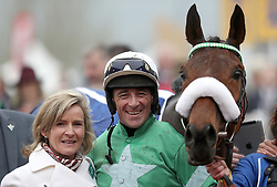 Jockey Davy Russell celebrates winning the Pertemps Network Final Handicap Hurdle on Presenting Percy during St Patrick's Thursday of the 2017 Cheltenham Festival at Cheltenham Racecourse.