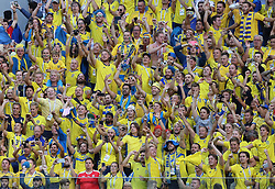 SAINT PETERSBURG, July 3, 2018  Fans of Sweden celebrate after the 2018 FIFA World Cup round of 16 match between Switzerland and Sweden in Saint Petersburg, Russia, July 3, 2018. Sweden won 1-0 and advanced to the quarter-final. (Credit Image: © Yang Lei/Xinhua via ZUMA Wire)