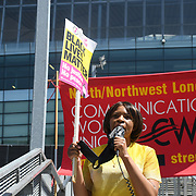 Speaker Michelline Ngong is a Labour Councillor at Anti racism campaigners gather outside Emirates Stadium to Take The Knee in support of the England football players who endured racial abuse after the Euro Final on 17th July 2021, London, UK.