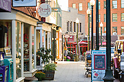 Shops and restaurants along Wall Street in Asheville, North Carolina.