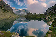 A placid early morning at Lake Fiorenza. This lake lies right at the foot of the Monviso, the peak where the Po river, the longest of Italy, springs from.