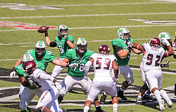 Sep 5, 2020; Huntington, West Virginia, USA; Marshall Thundering Herd quarterback Grant Wells (8) throws a touchdown pass to Marshall Thundering Herd wide receiver Jaron Woodyard (0) during the second quarter against the Eastern Kentucky Colonels at Joan C. Edwards Stadium. Mandatory Credit: Ben Queen-USA TODAY Sports