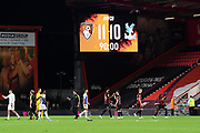 Bournemouth win 11-10 in the penalty shootout after Asmir Begovic (1) of AFC Bournemouth saved Luka Milivojevic (4) of Crystal Palace shot at goal during the EFL Cup match between Bournemouth and Crystal Palace at the Vitality Stadium, Bournemouth, England on 15 September 2020.