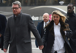 © Licensed to London News Pictures. 26/03/2013. London, UK. Deputy Editor of the Sun Geoff Webster (L) arrives at Westminster Magistrates' Court in London, Britain on 26 March 2013. He is charged with conspiring to commit misconduct in a public office, relating to payments totalling £8,000...Photo credit : Peter Kollanyi/LNP