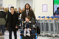 EXCLUSIVE - Please hide the child's face prior to the publication - Newly engaged Dimitri Rassam and Charlotte Casiraghi, with her son Raphael arrive in Paris, France, March 25, 2018, after The Bal de La Rose in Monaco. NO CREDIT a3