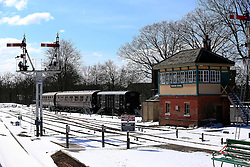 © Licensed to London News Pictures. 12/03/2013, Haywards Heath, UK.  Train carriages are seen station at snow covered Bluebell Railways' Horsted Keynes station, near Haywards Heath, West Sussex, England, as cold weather continues to affect much of UK, Tuesday, March 12, 2013. Photo credit : Sang Tan/LNP