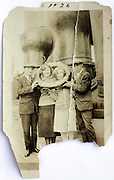 damaged image of people on a steam boat with a life saving ring mentioning Bremen 1926