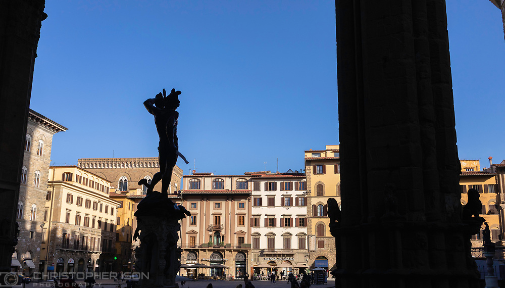 The statue of Perseus outside the Ufizzi Gallery in Piazza della Signoria in Florence, Tuscany, Italy.<br /> Picture date: Sunday February 24, 2019.<br /> Photograph by Christopher Ison ©<br /> 07544044177<br /> chris@christopherison.com<br /> www.christopherison.com