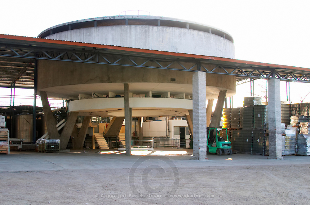 The winery building with its peculiar circular central office section. Bodega Juanico Familia Deicas Winery, Juanico, Canelones, Uruguay, South America