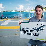 Shailene Woodley aboard the Greenpeace Ship Esperanza departing Bermuda for the Sargasso Sea. The Greenpeace ship Esperanza during its expedition to the Sargasso Sea, a unique region in the North Atlantic Ocean that is home to a diverse array of marine life, including loggerhead and green sea turtles.  The journey will see Greenpeace and University of Florida researchers team up to study the impact of plastics and microplastics on marine life and the importance that the Sargasso's drifting Sargassum seaweed habitat has for the development of juvenile sea turtles.