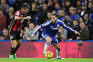 Eden Hazard of Chelsea in action with Charlie Daniels of Bournemouth marking. Barclays Premier league match, Chelsea v AFC Bournemouth at Stamford Bridge in London on Saturday 5th December 2015.<br /> pic by John Patrick Fletcher, Andrew Orchard sports photography.