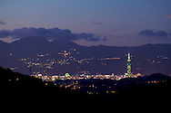 Distant view of Taipei City from a mountain overlooking Wulai, Taiwan.