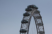 Close-up views of some of The London Eye's pods, seen from the north side of the River Thames; this one is taken from the east side of Embankment Station