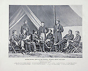 """Headquarters - Army of the Potomac - General Grant and Staff 1864 from The American Civil War book and Grant album : """"art immortelles"""" : a portfolio of half-tone reproductions from rare and costly photographs designed to perpetuate the memory of General Ulysses S. Grant, depicting scenes and incidents in connection with the Civil War Published  in Boston and New York by W. H. Allen in 1894"""