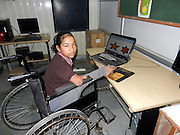 """Nature has bot been kind to her, but she does not complain.  Naseeba, 12, was born with only one leg and a short deformed arm.  Defying her acute disability, the girl has not only excelled in studies, sports and painting, but also helps her mother in domestic chores and teacher children in her village after school.<br /> She deftly uses her only foot like her hand for eating, writing, drawing, playing and taking care of others things.<br /> Naseeba belongs to Sasoi village in sonipat district where her father Shahabuddin works as a welder . A student at Renu Vidya Mandir, an institute of special education, vocational rehabilitation and research located in Sonipat,  she has three brothers and a sister.<br /> Thanks to the vocational training, physiotherapy and occupational therapy at the institute, Naseeba has developed a flair for painting, taste for music and excelled in sports.<br /> <br /> Despite her dibilitating disability, in three of her four limbs, she has received the gold medal at a district level wheel chair race. She is preparing for the state level competition. <br /> <br /> """"Mathematics is my favourite subject, I also tech children at my village. I like listening to music and participating in sports.  I am fond of drawing and painting,"""" said Naseeba.<br /> <br /> """"I want to become a teacher when i grow up."""" she said  on being asked about her aspiration. <br /> <br /> Naseeba's teacher point out she not only takes care of her personal routine, but helps her mother with cooking and other domestic chores.  In her spare time, she likes to watch television.  <br /> <br /> """"We have different sections for special and normal chiildern.  Naseeba had joined the section meant for the special children, but seeing her performance, we shifted her to the regular section.  She is good at studies."""" says Dhawni Gupta, director of the institute.    <br /> ©Exclusivepix Media"""