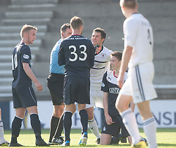 Raith Rovers players react to Falkirk's Conor McGrandles dive.<br /> Raith Rovers 1 v 1 Falkirk, Scottish Championship 28/9/2013.<br /> ©Michael Schofield.