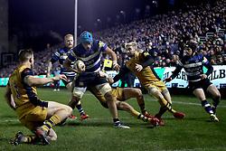 Bath's Zach Mercer breaks through the Bristol defence